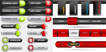 Website button with navigation bar red and black vector free download
