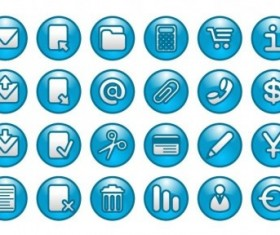 Round blue web buttons icon set vector
