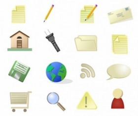 Simple computer with life icons vector set