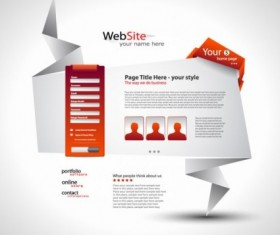 White with Orange origami website template vector