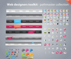 web design button with icons toolkit vector