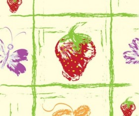 Hand drawn fruit with butterfly seamless pattern vector 05