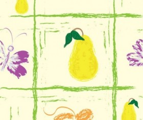 Hand drawn fruit with butterfly seamless pattern vector 04