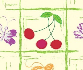 Hand drawn fruit with butterfly seamless pattern vector 03