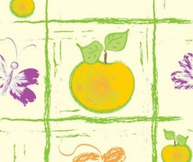 Hand drawn fruit with butterfly seamless pattern vector 02