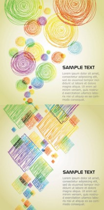 Geometric shapes with colored lines vector background