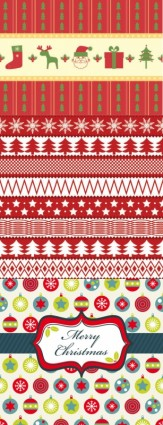Cartoon christmas continuous border with background vector