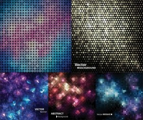 Geometric shapes with mosaics vector backgrounds