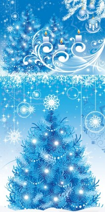 Blue christmas tree with ornaments background vector