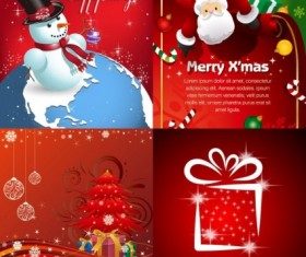 Red christmas ornaments cards vector set
