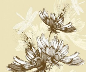 Classic hand painting background vector 02