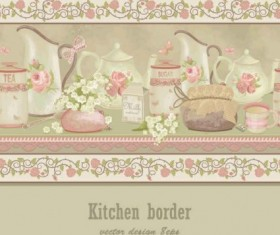 kitchen border with ping flowers vecror