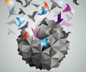 3D paper cranes background art vector