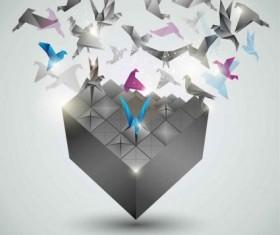 Creative paper cranes background Illustration vector