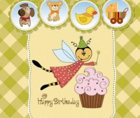 Cute cartoon style children card design vector 01