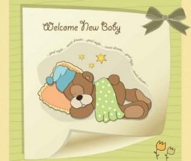 Cute cartoon style children card design vector 02