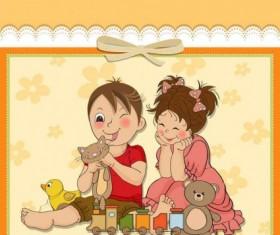 Cute cartoon style children card design vector 03