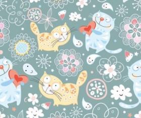 Cartoon animal vector seamless pattern