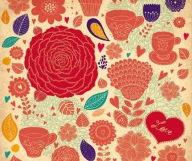 Elegance seamless pattern with floral background vector