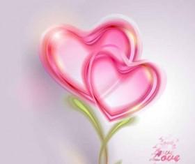 Pink heart valentine card shiny vectors