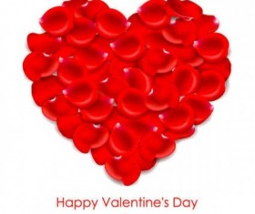 Red love petal heart vector