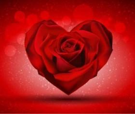 Red rose shape heart shiny vector