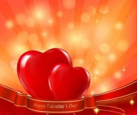 Heart with red ribbon background vector