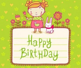 Cute kid birthday card templates vector