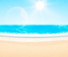 Summer beach with sun background vector set