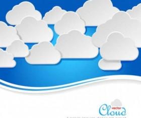 Paper clouds background art vector set