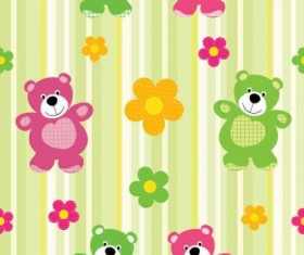 cartoon flower with bear pattern vector