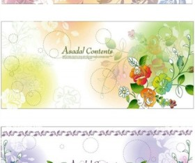 Fashion flower banners background vectors material