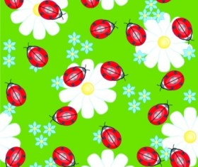 Cute Ladybug flowers continuous pattern vector