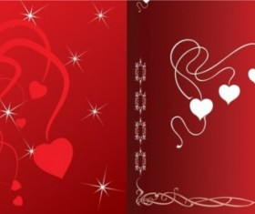Romantic red background with heart vector