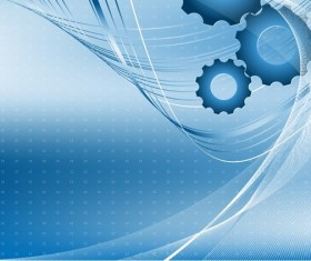 Blue dynamic lines and gear backgrounds art vector