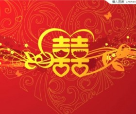 China styles wedding cards vector graphics