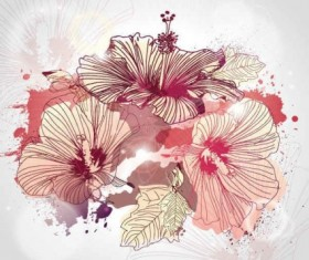 illustrated flowers  graphic vector background