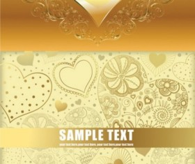 Bright gold heart background vector
