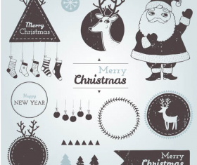 Christmas labels with baubles vintage vector