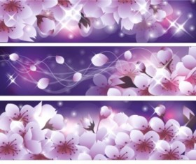 Cherry blossoms banner vectors material