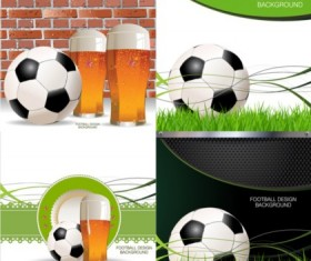 Creative football with beer design background vector