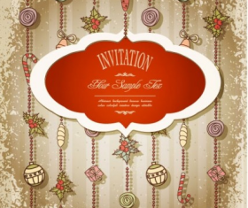 christmas label  with ornaments vintage vector