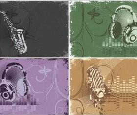 Music retro styles vector material
