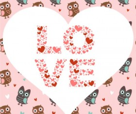 Cute owl decorative background vector
