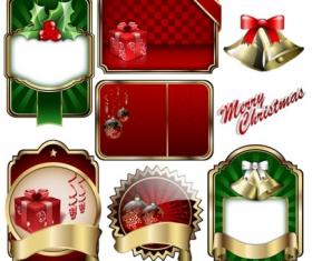 christmas badge shield label  vector material