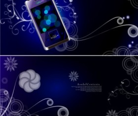 Colorful fantasy mobile phone background set vector
