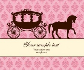 Carriage silhouetter and classical decorative background vector