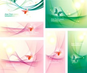 butterfly abstract cards shiny vector set