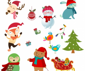 Christmas character design element  set vector