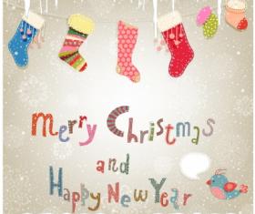 Merry christmas socks background  vector